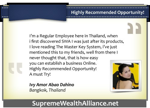 Supreme Wealth Alliance Testimonial - Ivy Amor Abao Dahino